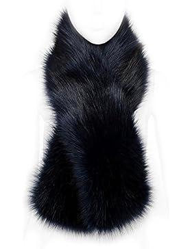 Futrzane Bufanda Cuello Mujer Bufanda de Piel de Zorro Sintética