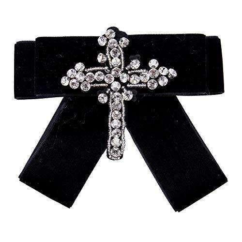 Schwarz-keil-bogen (ZSCRL Mode Straße Schuss mit Bogen Brosche, Diamant Kreuz Keil Schnalle, weibliche Boho-Stil 13 * 12cm schwarz)