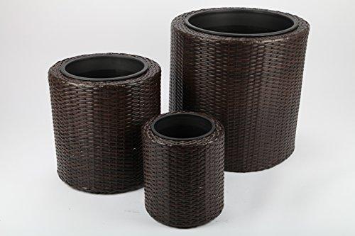 3 Pot de fleurs du rotin synthétique Hauteur 52+41+30cm