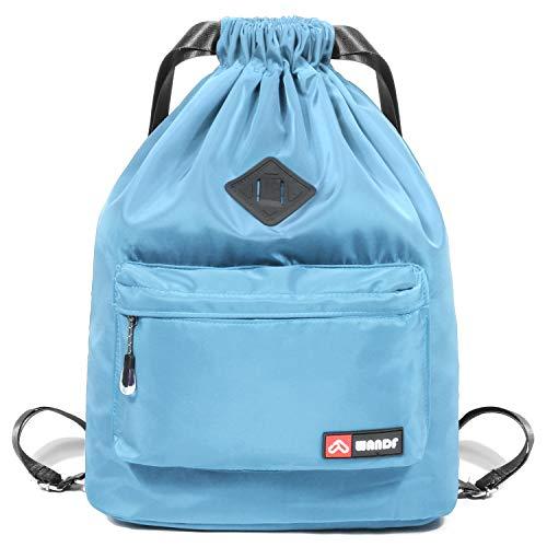 WANDF wasserdichte Rucksack mit Teleskopischem Schulterriemen, für Einkauf und Sport Yoga (Himmelblau Upgrade)