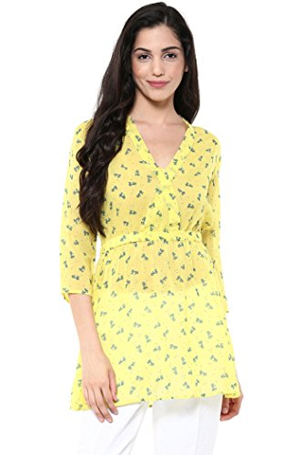 The Vanca Women Front overlapped shirt dress in yellow print  available at amazon for Rs.299