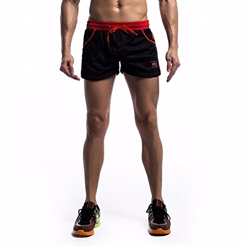 YiZYiF Herren Shorts Training Shorts Hose Sporthose Atmungsaktiv Mesh Boxershorts kurze Sport Shorts S-XL Schwarz S (Cargo-badeanzug)