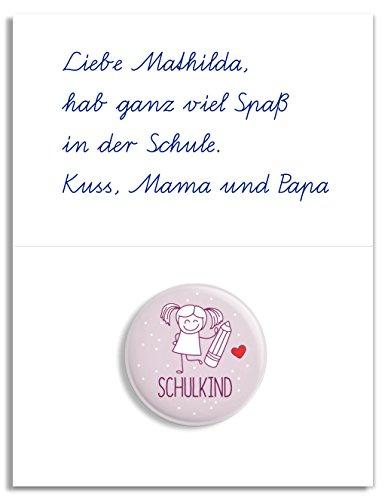 dabelino Button Schulkind: Mädchen mit Karte zur Einschulung: Ø 31 mm (Anstecker/ Pin) - 3