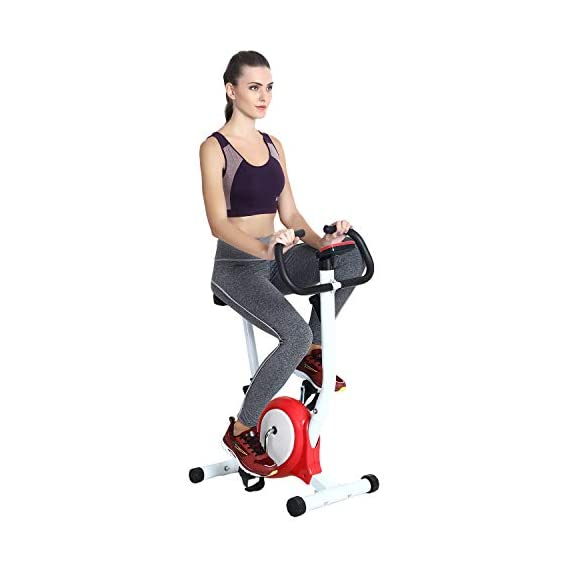 SUPER MARCHE Fitness Steel Exercise Bike for Men and Women (Blue and Red)