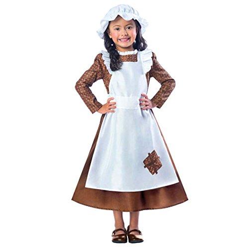 Mädchen Viktorianische Maid Kostüm Kostüm schlecht Dienstmädchen büchertag Woche Kinder Kinder altmodisches Verkleidung Kriegszeit - Braun, 104