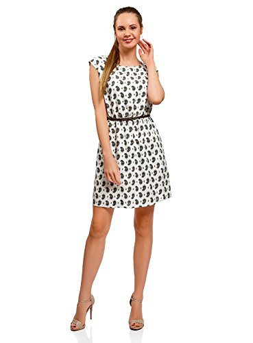 oodji Ultra Damen Viskose-Kleid mit Gürtel, Elfenbein, DE 36 / EU 38 / S (Mini-paisley-tunika)