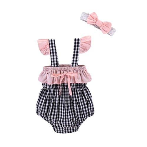 Huhu833 Baby Kleidung, 2 Stücke Sommer Neugeborenen Baby Mädchen Plaid Print Strampler Overall + Spitze Stirnband Kleidung Set (Rosa, 12M-80CM) (2 Mädchen 12m Baby Stück)