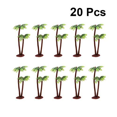 Yardwe 20 Stücke Kunststoff Modell Bäume Miniatur Künstliche Baum Gefälschte Pflanzen Zug Bäume Kokospalme Modell für Szene Architektur Dekoration 8 cm