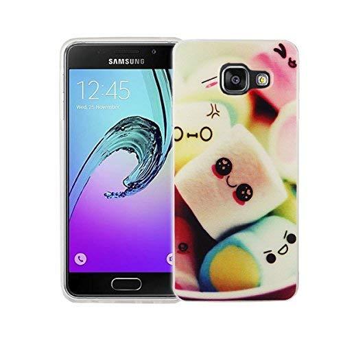 König-Shop Handy Hülle für Samsung Galaxy A3 2016 Cover Case Schutz Tasche Motiv Slim Silikon Bumper Schale Etuis Rahmen TPU Motiv Marshmallows