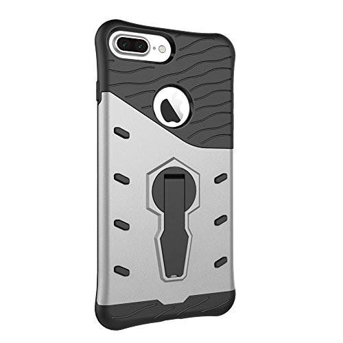 EKINHUI Case Cover Tough Hybrid Heavy Duty Shock Proof Defender Cover Dual Layer Armor Combo Mit 360 ° Swivel Stand Schutzhülle für iPhone 7 Plus & iPhone 8 Plus ( Color : Gold ) Silver