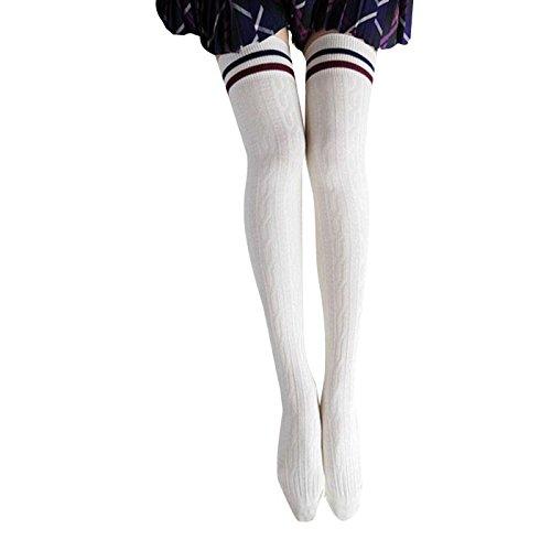 Zolimx Mädchen Frauen College Wind Schenkel hohe Socken Overknee Strümpfe (Weiß)