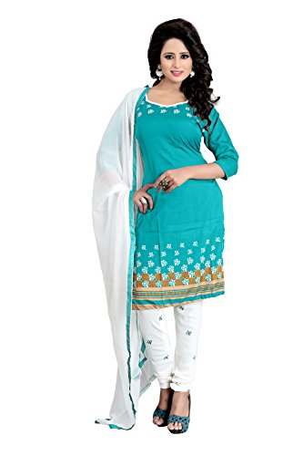 Womens New Designed Fancy Printed Unstiched Dress Material Party & Regular Wear salwar Suit Rama Color (Banno Rama_Dress)
