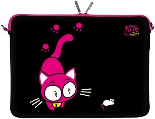 Kitty to Go LS141-10 Designer Tablet Schutzhülle 9,7 Zoll für Medion p9701, Samsung Galaxy Tasche Case 10 & 10.1 bis 10,2 Zoll (25,9 cm) Katze schwarz-pink