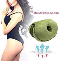 AJBB Dual Comfort Cushion, multi-functional beautiful hip Lift Hips Up Seat Cushion, memory foam support, comfortable waist cushion, suitable for car seat home office (Green)