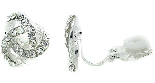 Airpot Glas (Clip On-Ohrstecker, Wirbel-Form, für Damen, Silber, mit kubischen Zirkonia, mit Kristallsteinen, elegant, Gatsby-Stil)