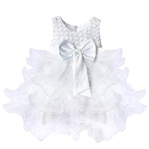 iiniim Bambina Principessa Perline Corpetto abito fascia con grande fiocco partito matrimonio Pageant Comunione costumi White 9-12 Mesi