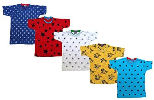 Manzon Kid's Cotton Round Neck Printed Tshirts, (MN717 (1-2 Year)) - Set of 5