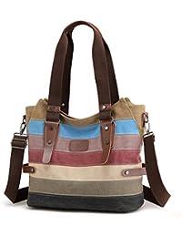 ec08173bff5be Travistar Damen Handtaschen Multi-Color-Striped Canvas Damen Hobos Schultertasche  Shopper Tasche