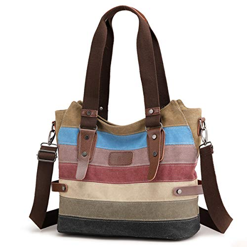 Travistar Damen Handtaschen Multi-Color-Striped Canvas Damen Hobos Schultertasche Shopper Tasche -
