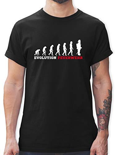 Feuerwehr - Evolution Feuerwehr - L - Schwarz - L190 - Tshirt Herren und Männer T-Shirts