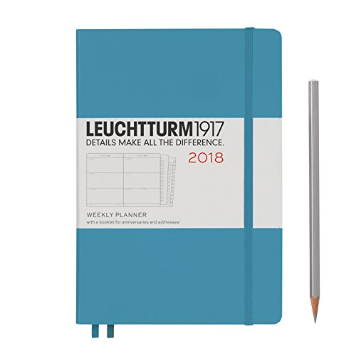 LEUCHTTURM1917 355222 Weekly Planner Medium (A5) 2018, Nordic Blue, English thumbnail