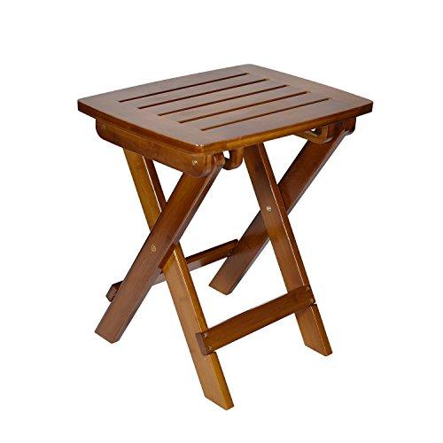 Geboor Faltbarer Duschhocker Multifunktionale Bambus Tritthocker für Angeln Picknick Strand Natürlich (Dunkelbraun) (Holz-schlafzimmer-tritthocker)