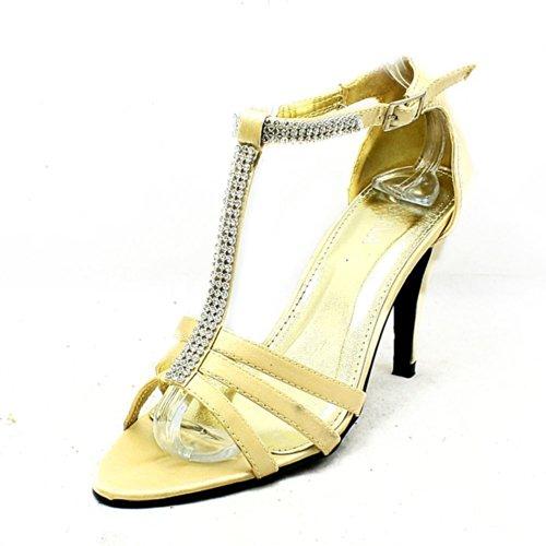 Mesdames satin strass T bar chaussures de mariage à talons hauts gold