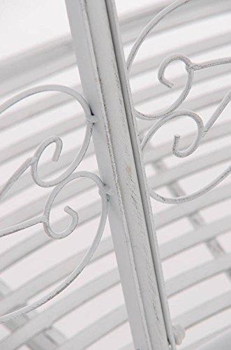 CLP Metall Eckbank / Gartenbank LORENA, Baumbank Design nostalgisch antik, Eisen lackiert, ca. 140 x 60 cm Antik Weiß - 6
