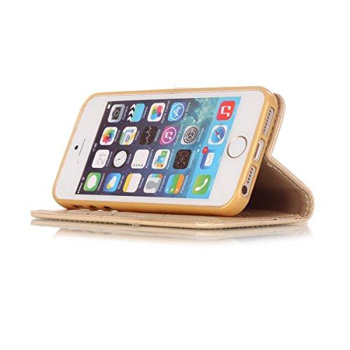 iPhone 5S Hülle Case,iPhone SE Hülle Case,Gift_Source [Purple Campanula] [Kickstand Feature] Dream Catcher Design PU Leder Brieftasche Hülle Case Built-in Card Slots Flip Cover Folio Hülle Case mit La E01-05-Yellow Campanula