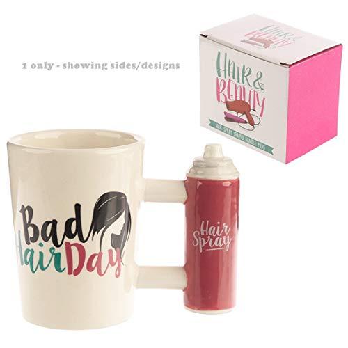 Taza de cerámica de aerosol para el cabello con asa con mal pelo día para