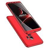 Galaxy s9 Plus Hülle 3 in 1 Handy Hülle Ultra Dünn Hartschale 360 Grad Full Body Schutz Stoßdämpfend Anti-Fingerabdruck Glatte Griff Hybrid Etui Bumper Case Cover (Galaxy S9 Plus, rot)