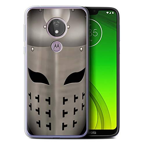 eSwish Gel TPU Hülle/Case für Motorola Moto G7 Power/Spangenhelm Helm Muster/Ritter Rüstung Kollektion
