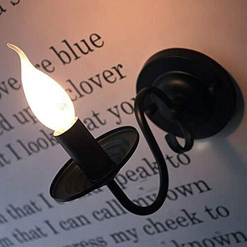 Retro E14 Wandleuchte Klassisch Eisen Wandlampe Kerzen Form Deckenbeleuchtung für Wohnzimmer Schlafzimmer Restaurant Schneise Korridor (Schwarz)