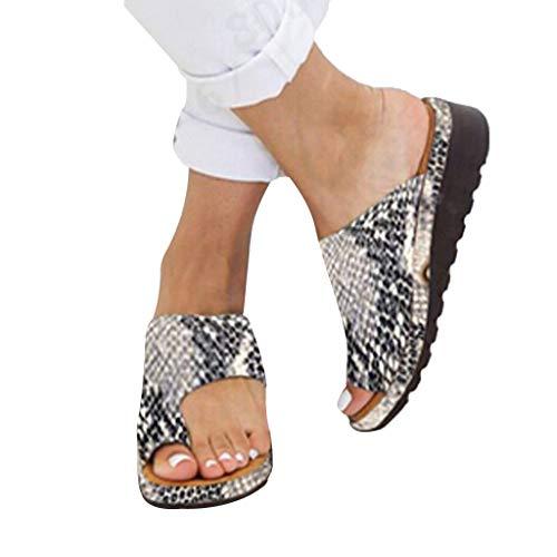 Celucke Scarpe da Donna Plateau Sandali Infra-Alluce Bassi in Pelle Infradito Scarpe comode Viaggio per Spiaggia e Estate