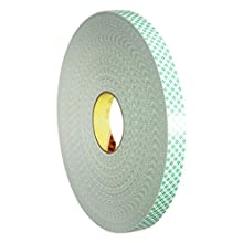 3M 4032 Double Coated Urethane Foam Tapes, 15 mm x 66 m, 0.8 mm, White, Pack of 15