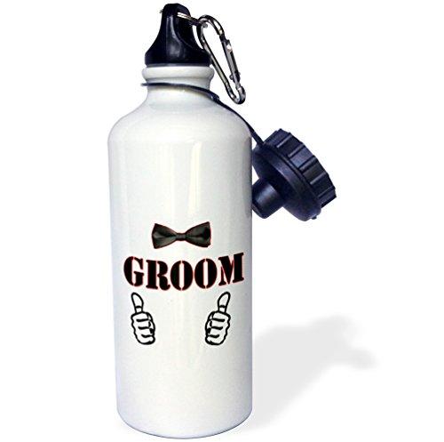 3dRose Unisex 1 Groom. Bow Tie. Popular Image. -Water Bottle (wb_218122_1), White, 21 Oz