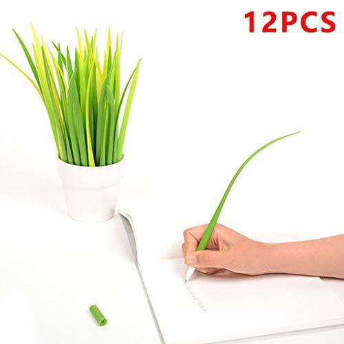 Morza 12st Kreative Grassblade Kugelschreiber Silicon Grass Pen Gelschreiber Schwarz Refill -