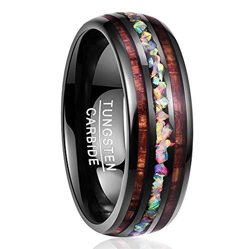 Nuncad Ring für Partner Unisex Fashion 8mm schwarz mit Opal und Koaholz, Wolfram Ring Unisex für Hochzeit, Lifestyle und Hobby, Größe 62