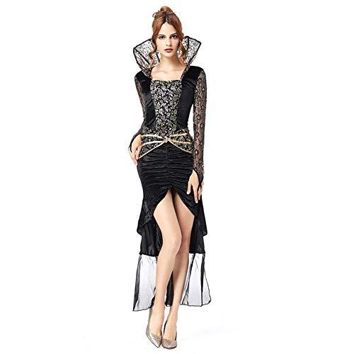 Signore Vestiti di Costumi Cosplay di Halloween Strega Carnevale del Completi alla Moda Vampiro Costumi di Carnevale di Festa di Moda Vintage Elegante Pizzo Nero (Color : Colour, Size : XL)