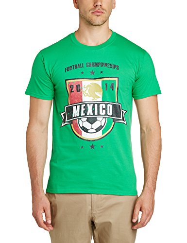 Football Fan Herren T-Shirt, World Cup Football 2014 Mexico Shield Mens T-Shirt, grün, WC0000701 (Cup Mexico World)