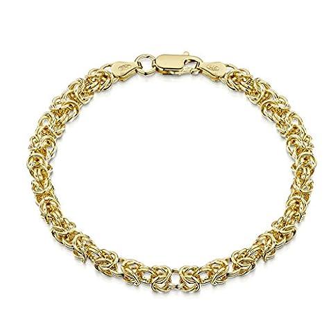 Amberta® Bijoux - Bracelet - Chaîne Argent 925/1000 - Plaqué Or 18K - Maille Royale - Maille Byzantin - Largeur 4.7 mm - Longueur 19 20 cm (19cm)