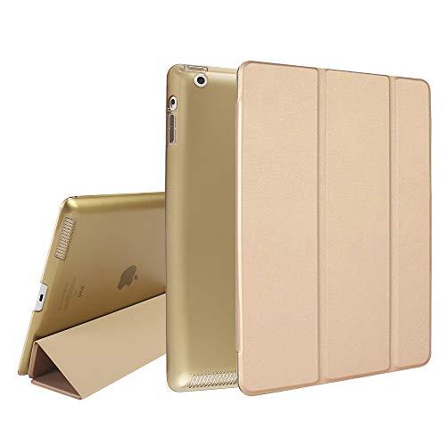 MTRONX für Apple iPad 4/3 / 2 Hülle (9,7 Zoll) (2011 2012), Magnetverschluss Auto Schlaf/Wachfunktion, Ständer Funktion Schutzhülle, Kunstleder Stand Etui Smart Cover -Gold(FB-GD)