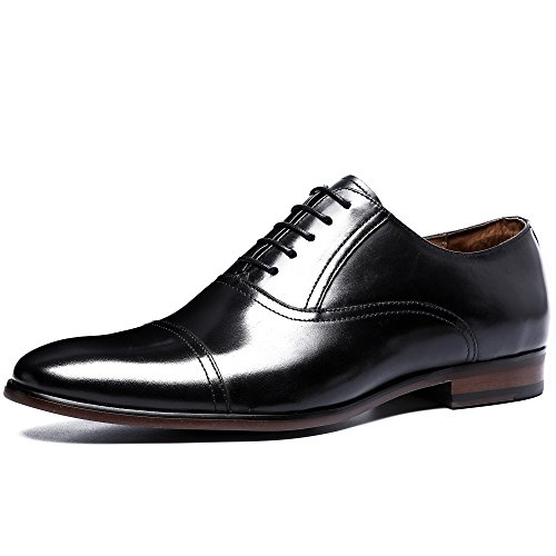 Desai Classic Oxford Herren Echtes Leder Schuhe Business Lace-up Kleid Schuhe Casual Hochzeit Spitz Zeh 46 EU Schwarz Lace-up Oxford Schuhe