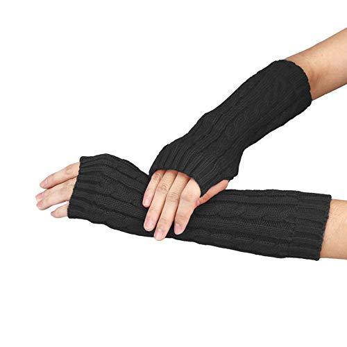 Vektenxi Handschuhe Winter Warm Knit Fingerlose Handschuhe Kurze Armmanschette Handgelenk Arm Knit Fäustlinge für Kinder Erwachsene Outdoor-Einsatz Schwarz (Erwachsene Kurze Fingerlose Schwarze Handschuhe)