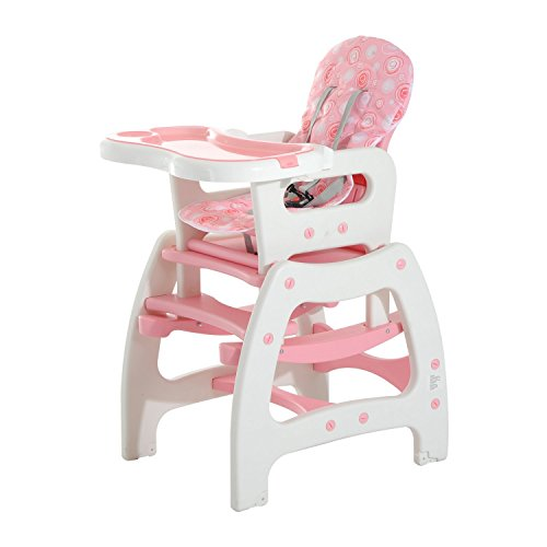 HOMCOM 3 en 1 Sillita Trona Mecedora Balancin Bebe Convertible Multifuncional Infantil Color Rosa