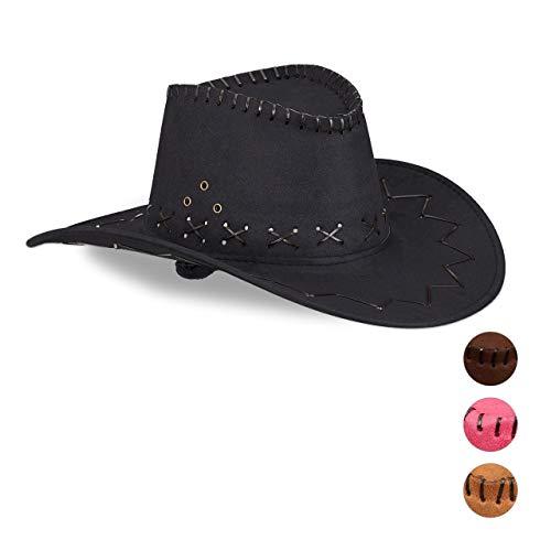 Relaxdays 10024992_46 Cowboyhut Fasching, Westernhut, für Erwachsene, im Westernstyle, Karneval, mit Kopfband, Faschingshut, schwarz, Unisex (Cowboy Hut Schwarz)