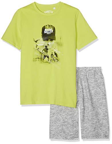 Sanetta Jungen Zweiteiliger Schlafanzug Pyjama Short Grün (Wild Lime 4461) 164 -
