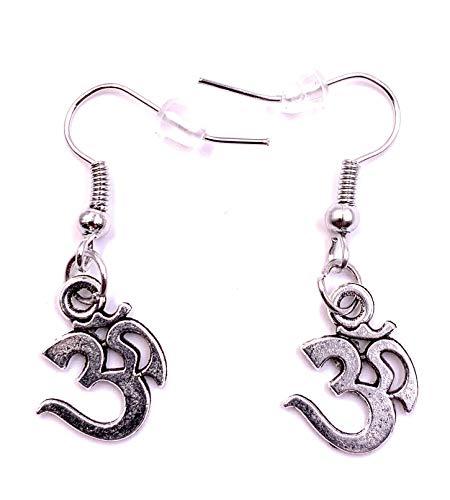 H-Customs Om Hindus Buddhismus Sanskrit Ohrringe Ohrschmuck Anhänger Silber Metall