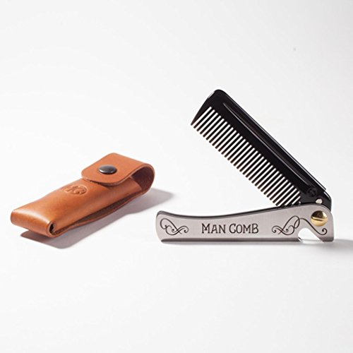 DAFT 'Limited Edition' (schwarz) Man Comb mit Lederetui aus italienischem Leder, faltbarer Taschenkamm aus Metall für Männer mit Bart, Herren-Klappkamm, mit Griff,...