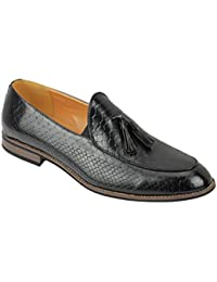 24e7799fb89c35 Mens Vintage Snakeskin Print Patent Shiny Leather Tassel Loafers Smart  Casual Retro MOD Shoes